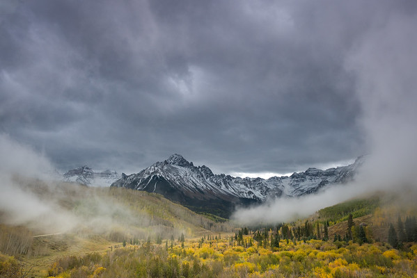 And then the clouds rolled in.   Ouray County Road 7, Ridgway, CO