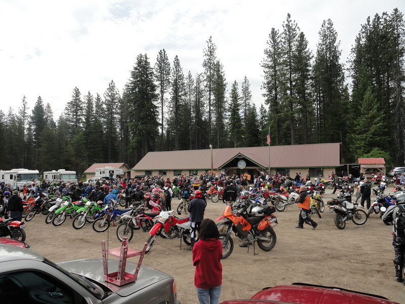 Riders gathering early morning at the Lake Wenatchee State Airport.
