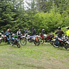 "A big variety of bikes. A vintage suzuki 250, A 96 DR 350 just like mine, A Honda trials bike, and a KLR 650 riding the ""A"" course."