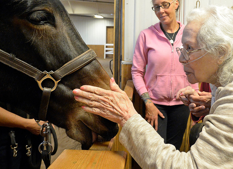 Estelvina Gomez pets Sadie, a mule she rode Wednesday, Sept. 27, 2017, during a pogram at Hearts & Horses Theraputic Riding Center in Loveland. (Photo by Jenny Sparks/Loveland Reporter-Herald)
