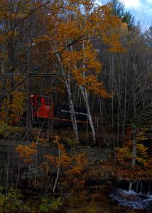 Milford Bennington Railroad - Wilton, NH coming through the woods - 4