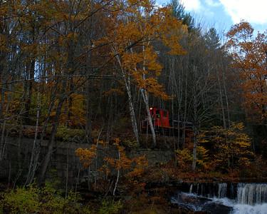 Milford Bennington Railroad - Wilton, NH coming through the woods - 10