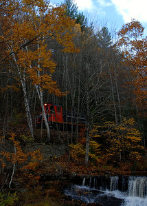 Milford Bennington Railroad - Wilton, NH coming through the woods - 2
