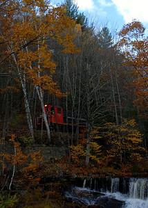 Milford Bennington Railroad - Wilton, NH coming through the woods - 2