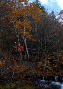 Milford Bennington Railroad - Wilton, NH coming through the woods - 3