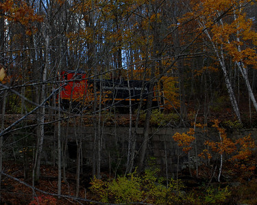 Milford Bennington Railroad - Wilton, NH coming through the woods - 11