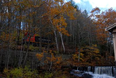 Milford Bennington Railroad - Wilton, NH coming through the woods - 6