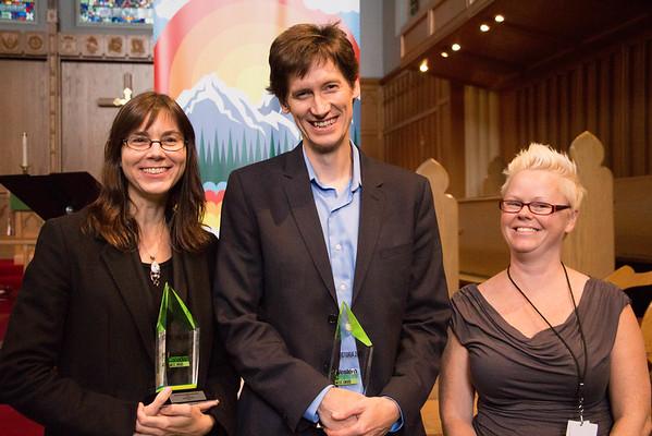 Jocelyn Morlock, Karl Stobbe, and Executive Director of BreakOut West, Robyn Stewart