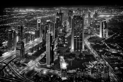 View over Dubai at Night / United Arab Emirates