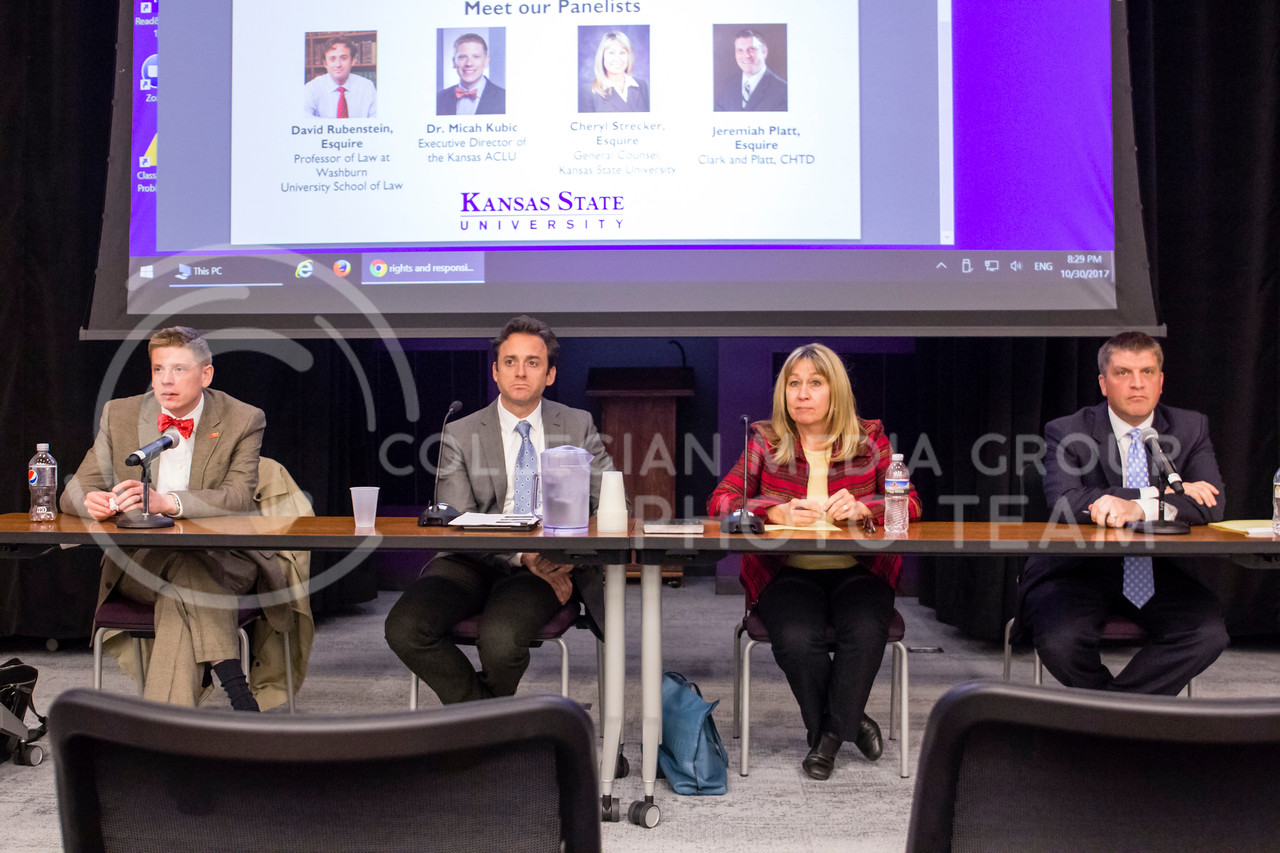 Dr Micah Kubric, David Rubenstein, Esquire, Cheryl Strecker, Esquire, and Jerimiah Platt, Esquire answer questions asked by students and those who attended the Rights and Responsibilities Panel on the 30th October, 2017. (Alex Shaw   Collegian Media Group)