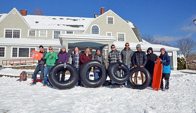Tubing on Peterson Manor Lawn with President Mooney 1-18-18