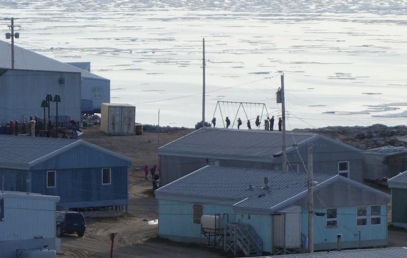 Inuit Children Swinging on a New Swing Set