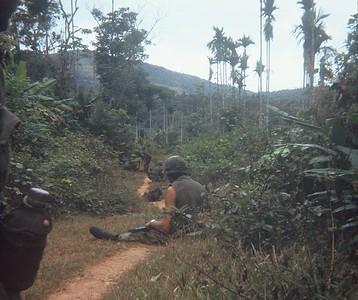 AR-8 Company A grunts take a break on a well-defined trail amongst palm trees