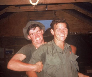 AR-16 John Hacker (CA) and Charlie Brown (GA) goofin' in the barracks
