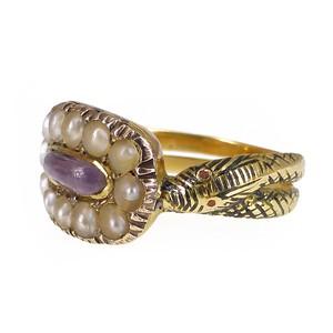 Antique Georgian Gold Amethyst Pearl Ouroboros Snake Ring