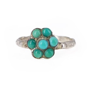 Antique Arts & Crafts Silver Turquoise Flower Ring