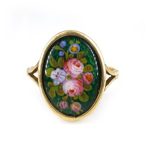 Antique Edwardian 9ct Gold Green Enamel Floral Rose Ring