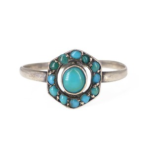 Antique Art Deco Silver Turquoise Ring