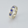White Gold Band Ring with Flush Set Square Sapphires