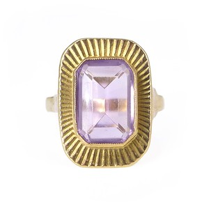 Vintage Mid Century 9ct Gold Amethyst Statement Cocktail Ring