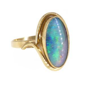 Vintage Mid Century 9ct Gold Australian Opal Triplet Ring
