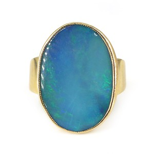 Vintage Mid Century 9ct Gold Large Opal Statement Cocktail Ring