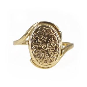 Vintage 9ct Gold Floral Engraved Locket Ring
