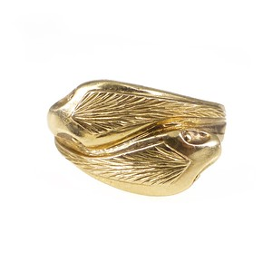 Vintage 1980s Victorian Style 9ct Gold Entwined Snake Ring