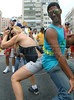 Participants performs during the XV Gay Parade at the Copacabana beach in Rio de Janeiro, Brazil, November 14, 2010. Gays, lesbians, and transexuals asks for opportunities, equality, respect, and this year as well for punishement for those who discriminate the homosexuals.  (Austral Foto/Renzo Gostoli)