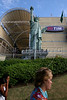 Pedestrians pass a replica of the Statue of Liberty in front of a shopping mall in the Barra da Tijuca district of Rio de Janeiro, Brazil, Jan. 24, 2006. (Australfoto/Douglas Engle)