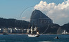 "Sailboats ""Gloria"", left, of Colombian Navy, ""Sagres"", center, of Portuguese Navy, and Brazilian ""Cisne Branco"", right, take part in maritime parade to celebrate the Brazil's Independence day in front of Copacabana beach, Rio de Janeiro, Brazil, Sep. 7, 2007. (Australfoto/Renzo Gostoli)"