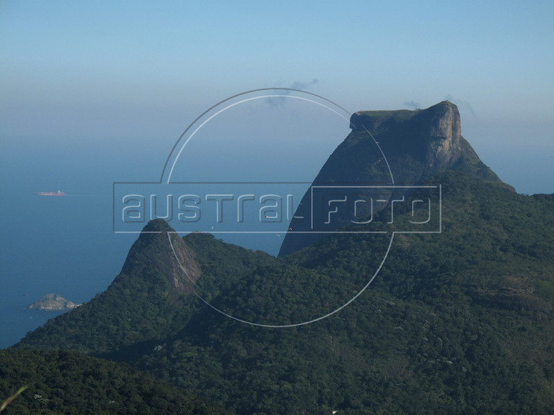 A view of the 842 meter Pedra da Gavea (Gavea Peak) from the Tijuca Forest National Park in Rio de Janeiro. The park, a forested mountain surrounded by an intensely populated urban area, is a model of preservation of the Brazil's Atlantic Forest ecosystem, of which only 7% remains. It is allegedly the largest urban forest in the world, and declared a National Park in 1961.  Formerly a coffee planting area and Rio's water source, Brazilian Emperor Dom Pedro II had the area completely reforested in the 1860s as the city's water supply began to dwindle. It is home to hundreds of species of plants and wildlife, many threatened by extinction (Australfoto/Douglas Engle)