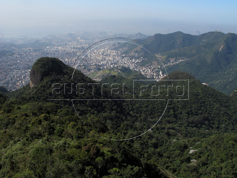 A view of downtown Rio, top, from the Tijuca Forest National Park in Rio de Janeiro. The park, a forested mountain surrounded by an intensely populated urban area, is a model of preservation of the Brazil's Atlantic Forest ecosystem, of which only 7% remains. It is allegedly the largest urban forest in the world, and declared a National Park in 1961. Formerly a coffee planting area and Rio's water source, Brazilian Emperor Dom Pedro II had the area completely reforested in the 1860s as the city's water supply began to dwindle. It is home to hundreds of species of plants and wildlife, many threatened by extinction (Australfoto/Douglas Engle)