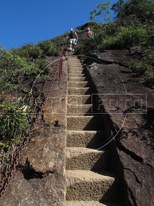 Hikers walk down steps carved into the stone near the top of the Tijuca Peak in the Tijuca Forest National Park in Rio de Janeiro. The park, a forested mountain surrounded by an intensely populated urban area, is a model of preservation of the Brazil's Atlantic Forest ecosystem, of which only 7% remains. It is allegedly the largest urban forest in the world, and declared a National Park in 1961. Formerly a coffee planting area and Rio's water source, Brazilian Emperor Dom Pedro II had the area completely reforested in the 1860s as the city's water supply began to dwindle. It is home to hundreds of species of plants and wildlife, many threatened by extinction. The steps were carved in 1920 to recieve King Albert of Belgium. (Australfoto/Douglas Engle)