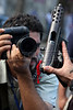 Rio de janeiro State Police Police (PMERJ) show captured weapons to the press after a shootout in Rio de Janeiro, Brazil, Oct. 21, 2009. (Douglas Engle/Australfoto)
