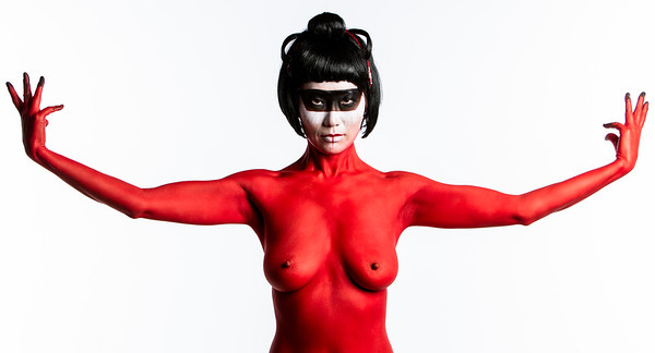 Nude fine art red geisha NYC photography by Aaron Paul Rogers.