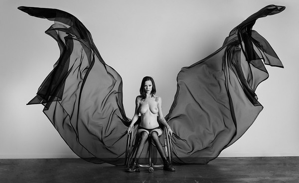 fine art disabled nude model wheelchair