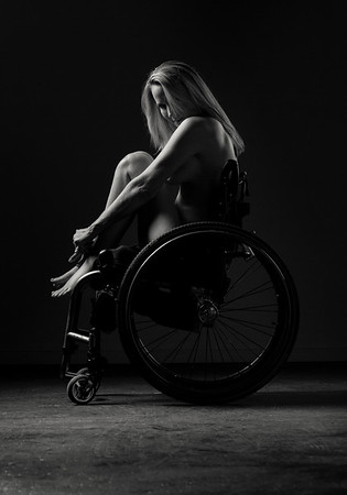 Fine art Disabled NYC nude wheelchair model.  by Aaron Paul Rogers.