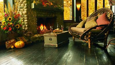 River Café Fieldstone Fireplace in fall