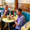 """Andy and Allan checking out the Oyster Café's """"buns"""""""