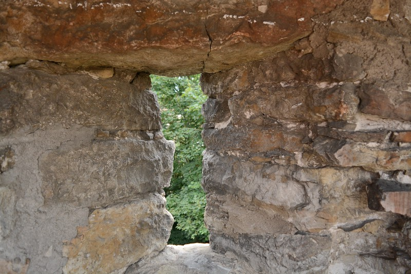 A weapon slot located in the wall still standing in the town of Rothenburg.