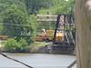 BNSF river bridge with work train