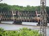 """BNSF river bridge with a """"work"""" train"""