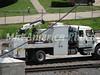 BNSF work truck on the rails