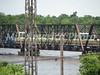 BNSF river bridge with gravel in work train