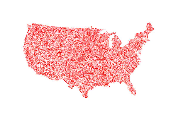 Red river map of the contiguous United States