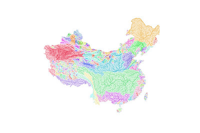 River basin map of China and Taiwan