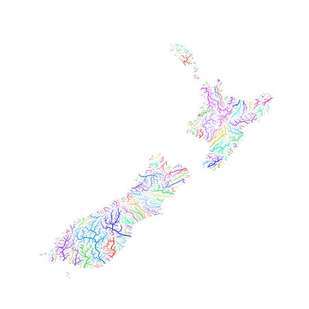 River basin map of New Zealand