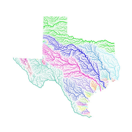 River basin map of Texas