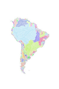 River basin map of South America